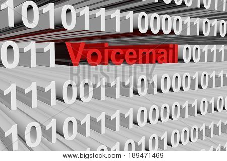 Voicemail in the form of binary code, 3D illustration