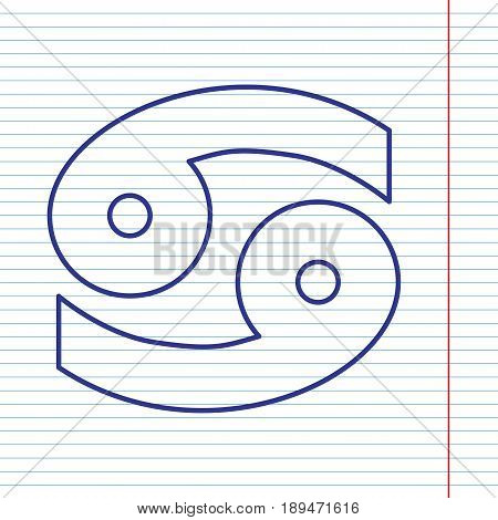 Cancer sign illustration. Vector. Navy line icon on notebook paper as background with red line for field.