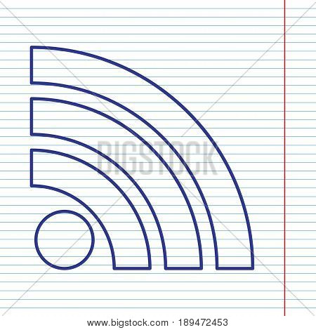 RSS sign illustration. Vector. Navy line icon on notebook paper as background with red line for field.
