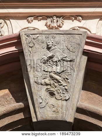 Relief on facade of old building Religious themes Prague Czech Republic Europe