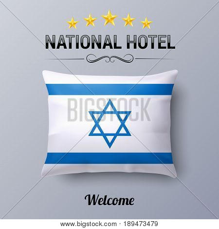 Realistic Pillow and Flag of Israel as Symbol National Hotel. Flag Pillow Cover with Israeli flag