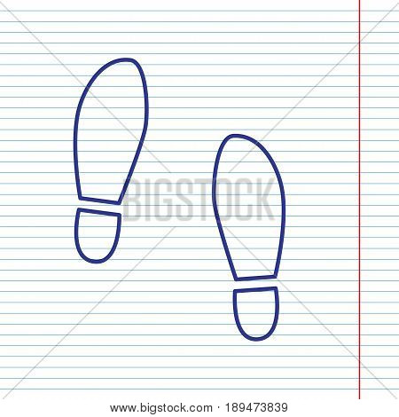 Imprint soles shoes sign. Vector. Navy line icon on notebook paper as background with red line for field.