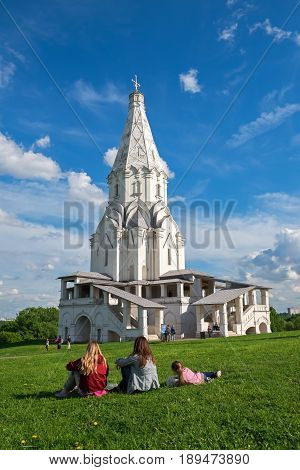 Recreation in the Kolomenskoye Museum-Reserve, near the Ascension Church, Moscow, Russia