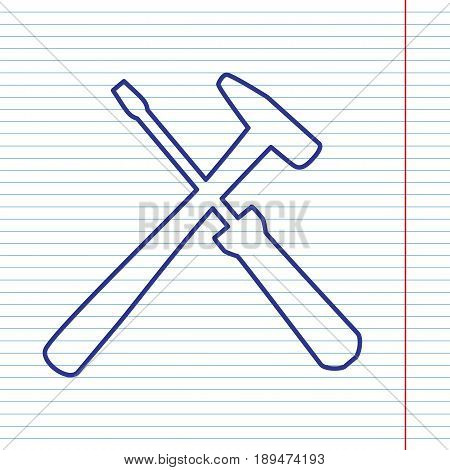 Tools sign illustration. Vector. Navy line icon on notebook paper as background with red line for field.