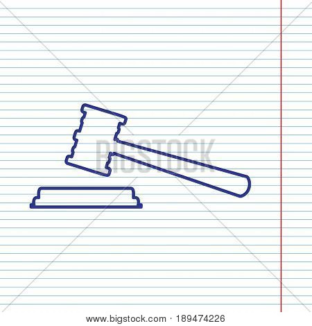Justice hammer sign. Vector. Navy line icon on notebook paper as background with red line for field.