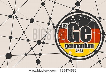 Germanium chemical element. Sign with atomic number and atomic weight. Chemical element of periodic table. Molecule And Communication Background. Connected lines with dots. Flag of Germany