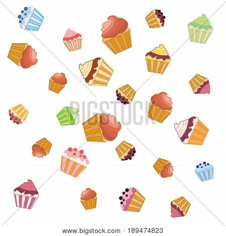 Nice Pattern With Colorful Cupcakes