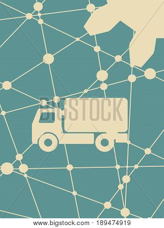 Delivery truck icon isolated. Grunge style vector illustration. Industrial lorry or tip truck sign.