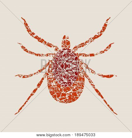 Insect silhouette.Tick parasite. Sketch of Tick. Mite. Tick isolated on white background. Vector illustration. Grunge cracked texture