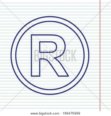Registered Trademark sign. Vector. Navy line icon on notebook paper as background with red line for field.