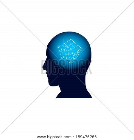 Head With Puzzle In Brain, Brainstorm Thinking Intelligence Concept Icon Flat Vector Illustration