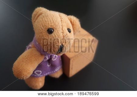 Teddy bear alone on blur isolated background