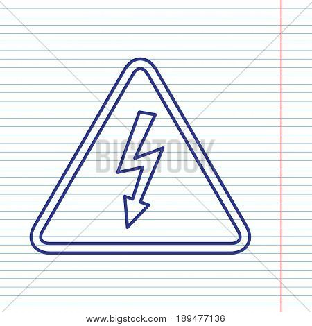 High voltage danger sign. Vector. Navy line icon on notebook paper as background with red line for field.