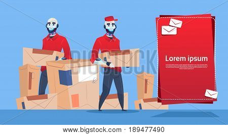 Courier Robots Carry Box Delivery Package Post Service Banner Copy Space Flat Vector Illustration