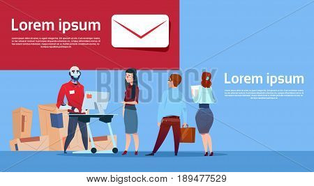 Courier Robots Serving Clients Giving Boxes Delivery Package Post Service Banner Copy Space Flat Vector Illustration