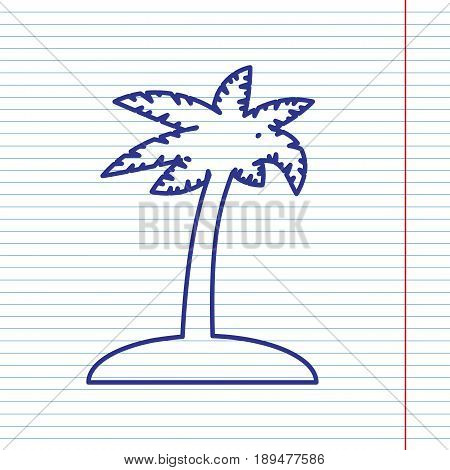 Coconut palm tree sign. Vector. Navy line icon on notebook paper as background with red line for field.
