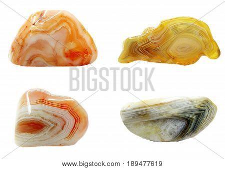 botswana agate chalcedony quartz semigem geological mineral isolated