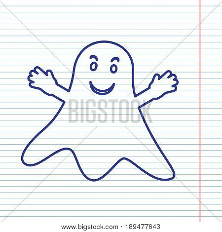 Ghost sign. Vector. Navy line icon on notebook paper as background with red line for field.