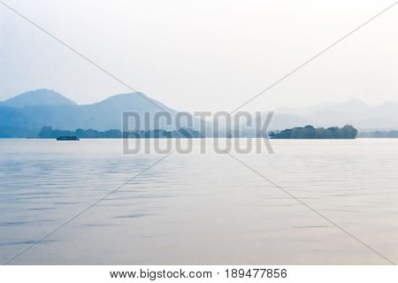 Landscape with the lake, boat, pagoda and mountains. Beautiful Hangzhou West lake scenery, pagoda in afterglow.