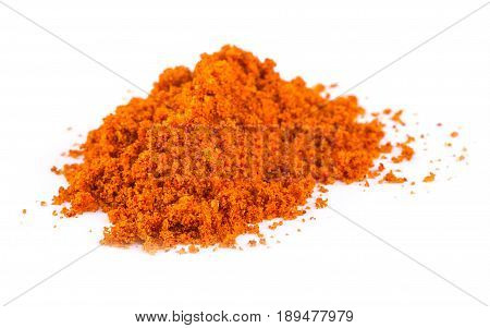Red curry powder on the white background