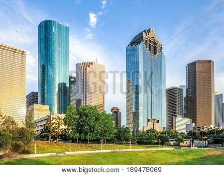 Skyline of Houston Texas in daytime under blue sky