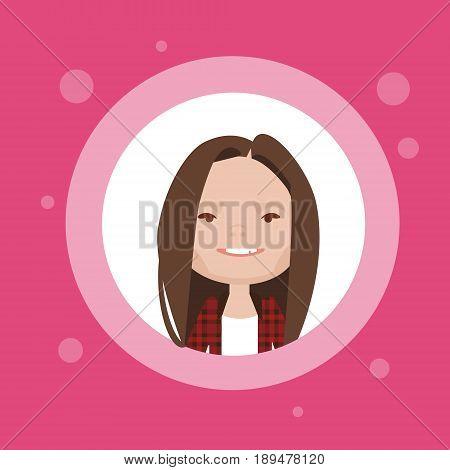 Profile Icon Female Avatar, Woman Cartoon Portrait, Casual Person Face Flat Vector Illustration