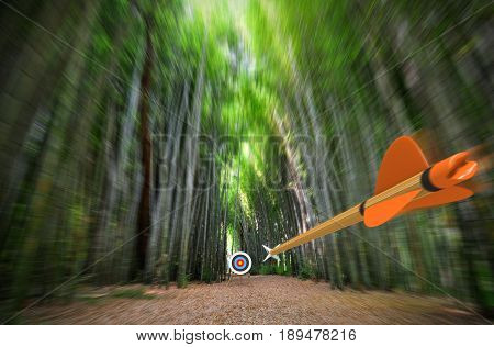 High speed arrow flying through blurred bamboo forest with archery target in focus, part photo, part 3D rendering