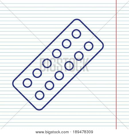 Medical Pills sign. Vector. Navy line icon on notebook paper as background with red line for field.