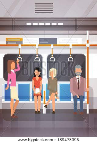 People Passangers In Subway Car Modern City Public Transport, Underground Tram Flat Vector Illustration