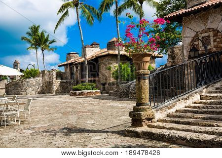 small street in a medieval village Altos de Chavon, Dominican Republic