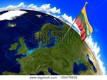 Lithuania national flag marking the country location on world map. 3D rendering, parts of this image furnished by NASA