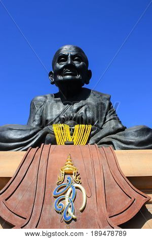 Closeup Luang Phor Tuad Statue at Wat Huai Mongkhon Hua Hin