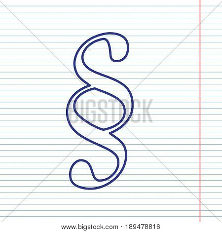 Paragraph sign illustration. Vector. Navy line icon on notebook paper as background with red line for field.