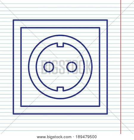 Electrical socket sign. Vector. Navy line icon on notebook paper as background with red line for field.