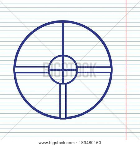 Sight sign illustration. Vector. Navy line icon on notebook paper as background with red line for field.