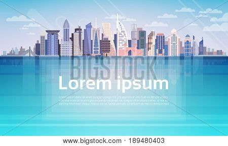Dubai City Skyscraper View Cityscape Background Skyline with Copy Space Flat Vector Illustration