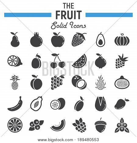 Fruit solid icon set, food symbols collection, vegetarian vector sketches, logo illustrations, glyph pictograms package isolated on white background, eps 10.