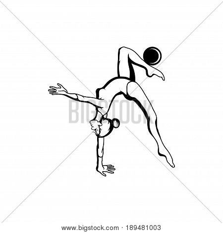 Art gymnastics with ball. Young girl in sport gymnastic position.Vector illustration of a acrobatic girl. Young woman with a beautiful body. Sexy gymnast flat icon isolated on white background. poster