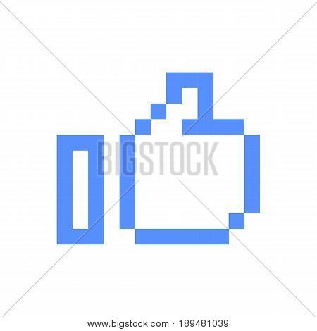 Pixel art icon thumb up sign symbol set