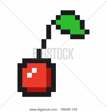 Pixel art cherry icon game fruit set