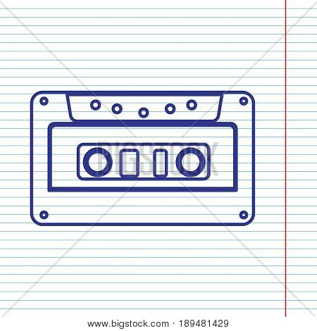 Cassette icon, audio tape sign. Vector. Navy line icon on notebook paper as background with red line for field.