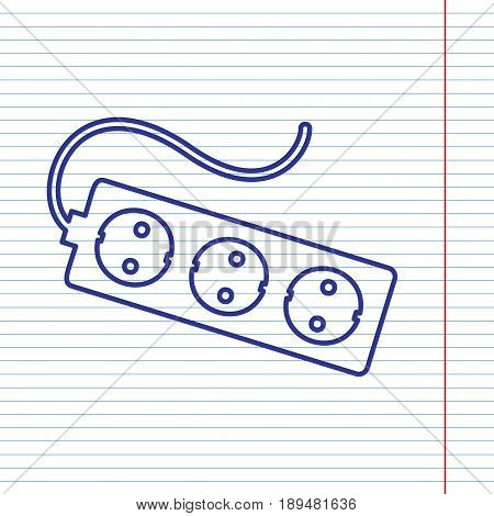 Electric extension plug sign. Vector. Navy line icon on notebook paper as background with red line for field.