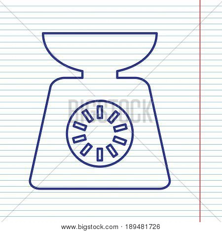 Kitchen scales sign. Vector. Navy line icon on notebook paper as background with red line for field.
