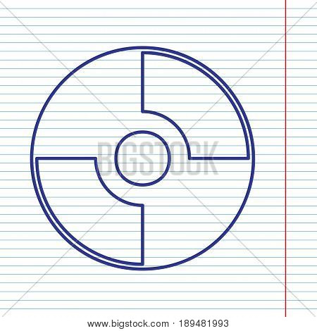 Vector CD or DVD sign. Vector. Navy line icon on notebook paper as background with red line for field.