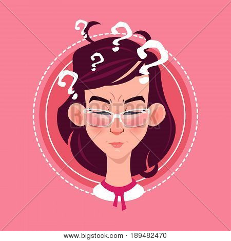 Profile Icon Female Emotion Avatar, Woman Cartoon Portrait Pondering Face Flat Vector Illustration