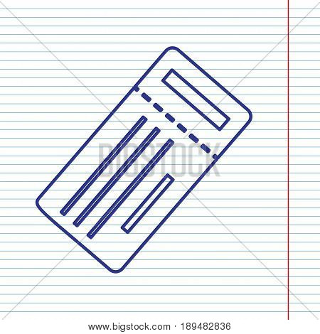 Ticket simple sign. Vector. Navy line icon on notebook paper as background with red line for field.