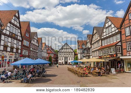 RINTELN, GERMANY - MAY 22, 2017: Central market square in historical city Rinteln, Germany