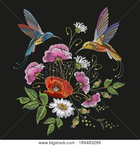 Two humming birds and poppies chamomile embroidery on black background. Elegant flowers poppy and tropical humming bird vector. Decorative floral embroidery