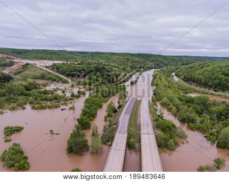 JEROME MO/USA May 1 2017: Flood waters submerge Interstate 44 in Jerome Missouri