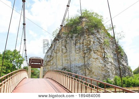 Khao Ngoo Rock Park famous scenic point in Ratchaburi Thailand.